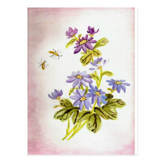 Bees and Flowers Postcard