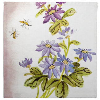 Bees and Flowers Printed Napkins