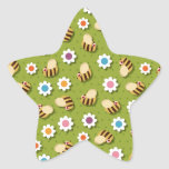 Bees and Flowers Star Sticker