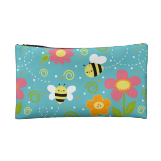 Bees and Flowers Zippered Pouch Makeup Bag