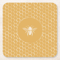 Bees and Golden Honeycomb Pattern