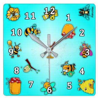 Bees and Honey Square Wall Clock