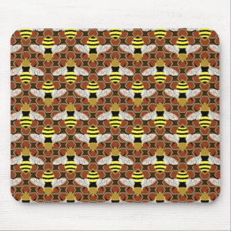 Bees and Honeycomb Pattern Mouse Pad