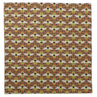 Bees and Honeycomb Pattern Cloth Napkins