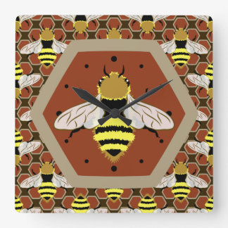 Bees and Honeycomb Pattern Square Wall Clock