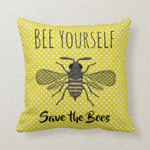 BEES and Honeycomb - Save The Bees Throw Pillow