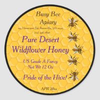 Bees and Honeycomb with Black Background Ring Classic Round Sticker