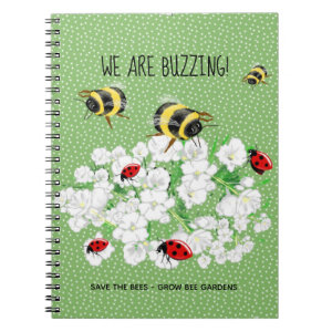 BEES and LadyBugs - Art by LeahG Save The Bees Notebook