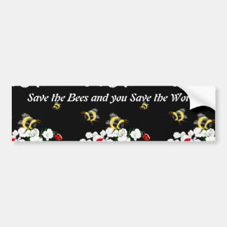 BEES and Ladybugs nature art Car Bumper Sticker