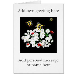 BEES and Ladybugs nature art Greeting Card