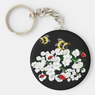 BEES and Ladybugs nature art Basic Round Button Keychain