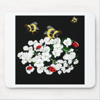 BEES and Ladybugs nature art Mouse Pad