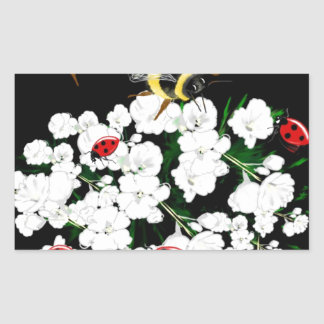 BEES and Ladybugs nature art Rectangle Stickers