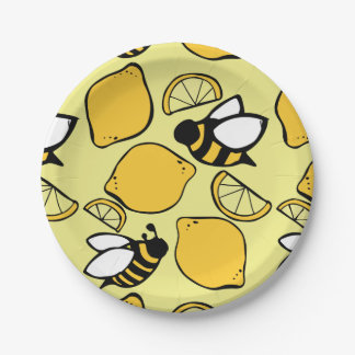 Bees and Lemons for Lemonade Paper Plate