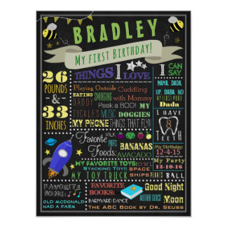 Bees and Rockets Boys First Birthday Poster