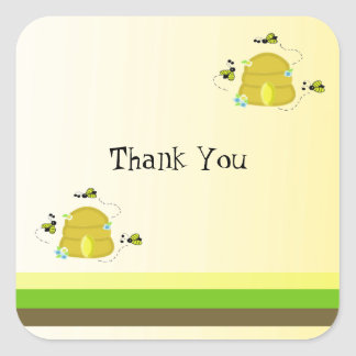 Bees and Stripes Thank You Square Sticker