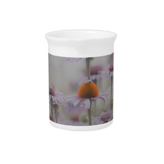 Bees and the Cone Flowers Beverage Pitcher