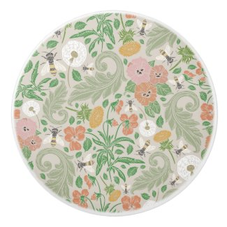 Bees and Wildflower Garden Print Ceramic Knob