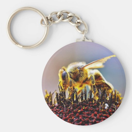 Bees Collecting Pollen Key Chain