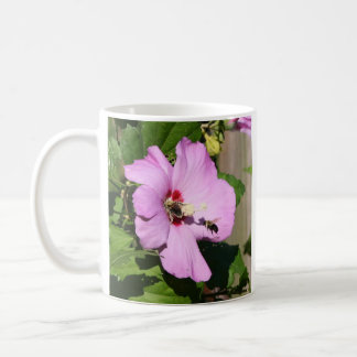 Bees Covered In Pollen on Pink Flower Coffee Mug