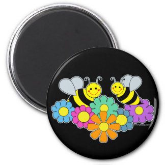 Bees & Flowers 2 Inch Round Magnet
