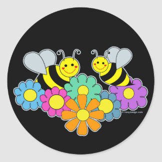 Bees & Flowers Classic Round Sticker
