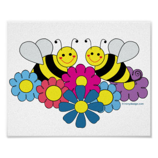 Bees & Flowers Design Illustration Poster