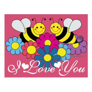 Bees & Flowers Graphic Design I Love You Postcards