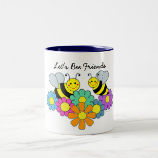 Bees & Flowers Lets be friends Two-Tone Coffee Mug