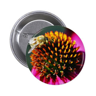 Bees Flowers Macro Pinback Buttons