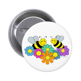 Bees & Flowers Pinback Button