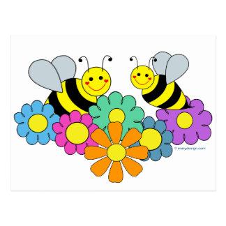 Bees & Flowers Postcard
