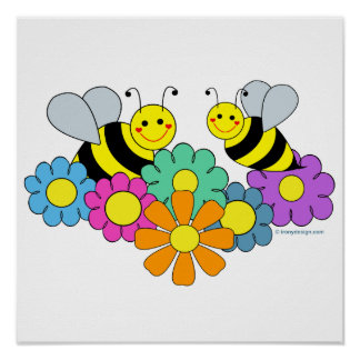 Bees & Flowers Poster