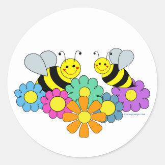 Bees & Flowers Round Sticker
