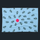 """Bees grouping around a red dot towel<br><div class=""""desc"""">This simple, modern design uses vintage illustrations of bees, and a simple pink-red dot, to create an interesting, decorative design. The design features a group of illustrated bees, over a light blue background (in most products), circling a red dot. The design is simple, yet interesting, and immediately creates a conversation,...</div>"""