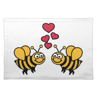 Bees hearts love cloth place mat