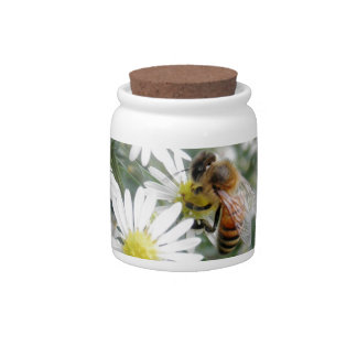 Bees Honey Bee Wildflowers Flowers Daisies Photo Candy Jar