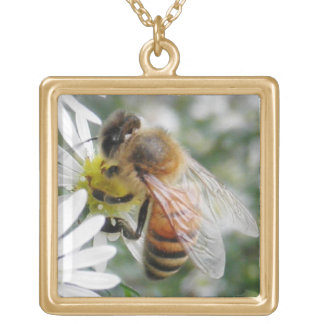 Bees Honey Bee Wildflowers Flowers Daisies Photo Gold Plated Necklace