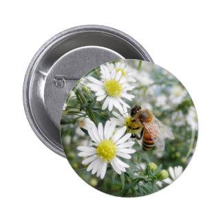Bees Honey Bee Wildflowers Flowers Daisies Photo Pinback Button