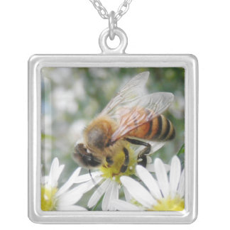 Bees Honey Bee Wildflowers Flowers Daisies Photo Silver Plated Necklace