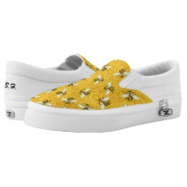 Bees Honeycomb Honeybee Beehive Pattern | Monogram Slip-On Sneakers