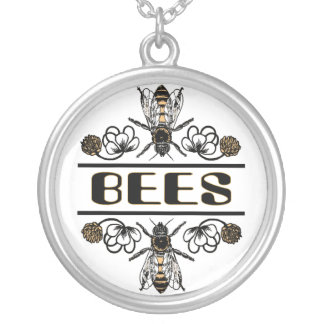Bees In Clover Silver Plated Necklace