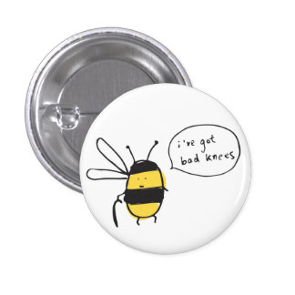 bees knees badge pinback button