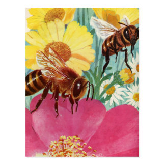 bees make honey postcard