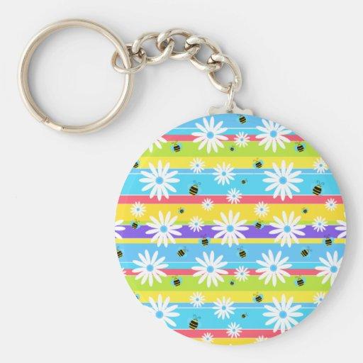 bees n daisies keychains
