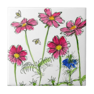 Bees Nigella Hot Pink Cosmos Watercolor Flowers Ceramic Tile