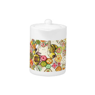 Bees of Confusion Honeycomb Colorful Teapot
