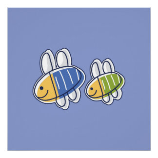 Bees on Blue Background Poster