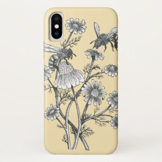 bees on chamomile flower on soft yellow phone case