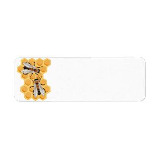 bees on comb return address label